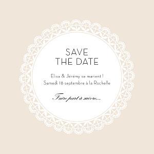 Save the date beige boudoir dentelle photo beige blanc