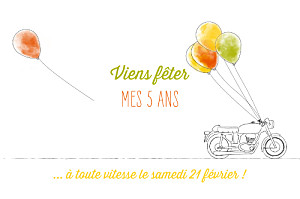 Carte d'anniversaire Moto photo orange & vert
