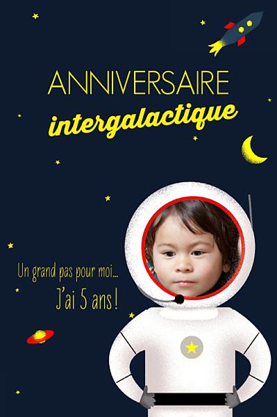 Carte d'anniversaire Cosmonaute jaune finition