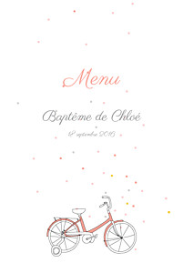 Menu de baptême rouge à bicyclette (4 pages) corail