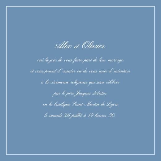 Faire-part de mariage Grand chic liseré bleu - Page 3