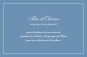Carton d'invitation mariage bleu grand chic liseré bleu