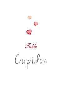 Marque-table mariage rouge coeurs rouge