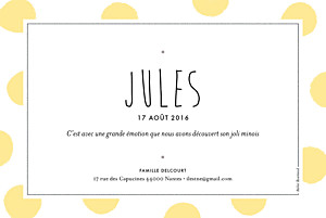 Faire-part de naissance pois big dots photo jaune