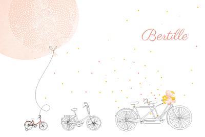 Faire-part de naissance À bicyclette (2 enfants) corail finition