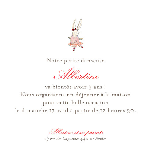Carte d'anniversaire Pirouette photo rose - Page 1