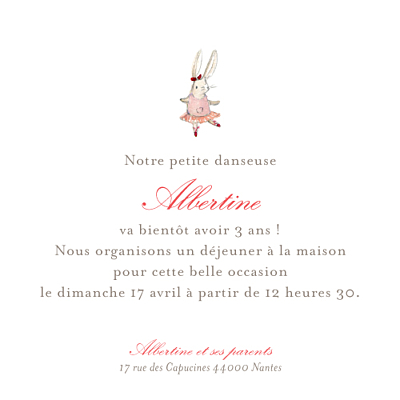 Carte d'anniversaire Pirouette photo rose finition