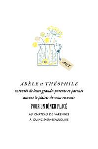Carton d'invitation mariage jaune instant fleuri rose