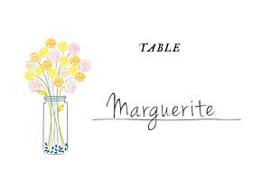 Marque-table mariage jaune instant fleuri jaune