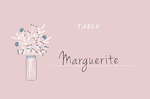 Marque-table mariage Instant fleuri rose