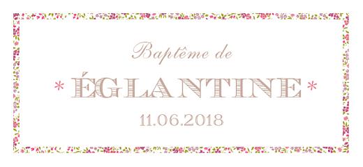 Etiquette perforée baptême Poisson liberty rose