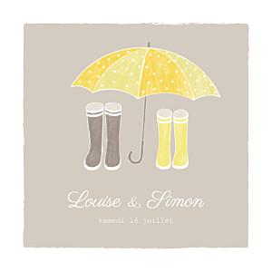 Faire-part de mariage À pieds joints (4 pages) couple parapluie