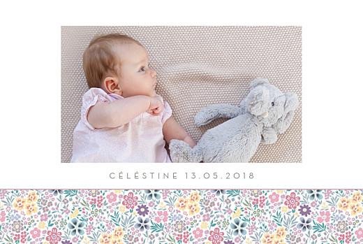Faire-part de naissance Mille fleurs paysage photo rose
