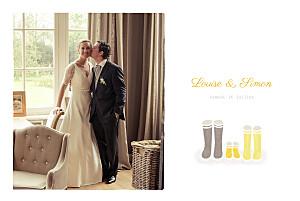 Carte de remerciement mariage beige à pieds joints famille