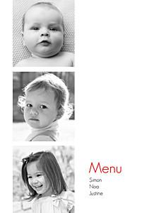 Menu de baptême jumeaux contemporain 3 photos blanc