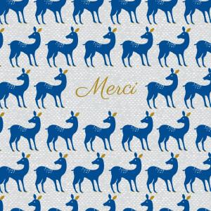 Carte de remerciement Merci bambino bleu nuit