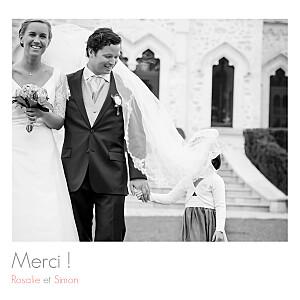 Carte de remerciement mariage marianne fournigault moderne photos (triptyque) blanc