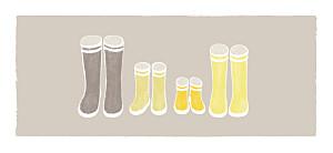 Etiquette de mariage beige à pieds joints famille 2 enfants
