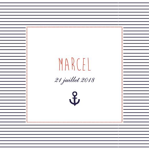 Faire-part de naissance Petit matelot (triptyque) bleu & rouge