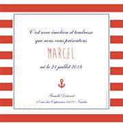 Faire-part de naissance Petit matelot (triptyque) bleu & rouge page 2
