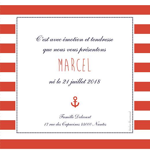 Faire-part de naissance Petit matelot (triptyque) bleu & rouge - Page 2