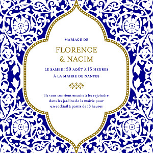 Faire-part de mariage clémence gantois byzance (carré) bleu