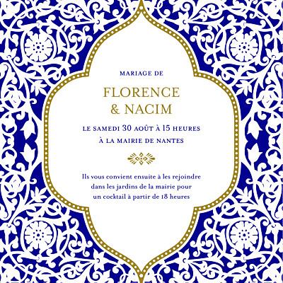Faire-part de mariage Byzance (carré) bleu finition