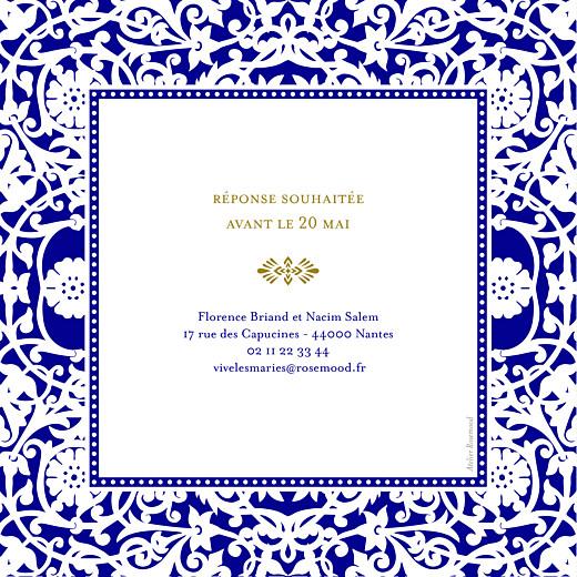 Faire-part de mariage Byzance (carré) bleu - Page 2