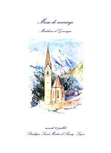 Livret de messe mariage avec photo élégant blanc