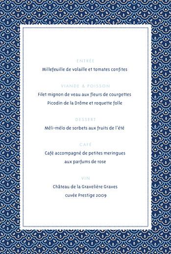 Menu de baptême Pattern écusson bleu - Page 2
