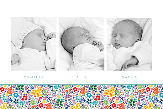 Faire-part de naissance Mille fleurs triplés (3 photos) jaune et rouge