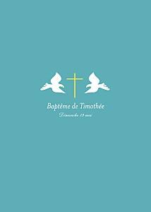 Livret de messe animaux croix & colombes turquoise