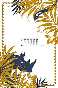 Carte d'anniversaire jungle photo bleu & marron