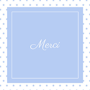 Carte de remerciement tradition merci classique chic bleuet