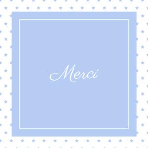 Carte de remerciement Merci classique chic bleuet