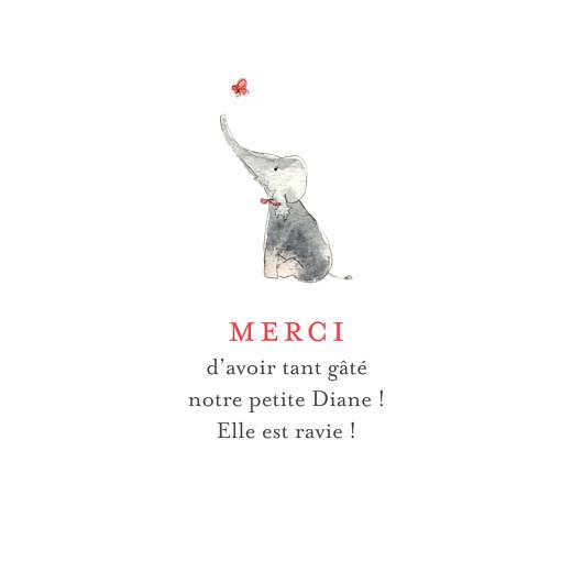 Carte de remerciement Un petit amour d\'éléphant corail