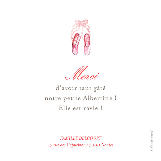 Carte de remerciement Merci pirouette photo rose