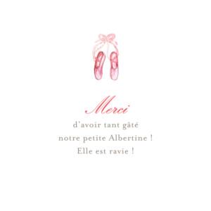 Carte de remerciement Merci pirouette rose