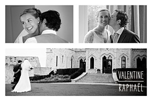 Carte de remerciement mariage marianne fournigault toi & moi (cadre 3 photos) blanc