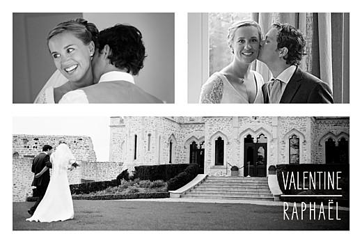 Carte de remerciement mariage Toi & moi (cadre 3 photos) blanc