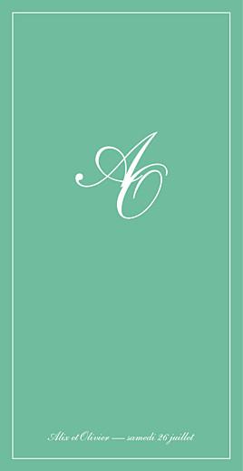 Menu de mariage Chic liseré vert