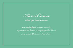 Carton d'invitation mariage Grand chic liseré vert