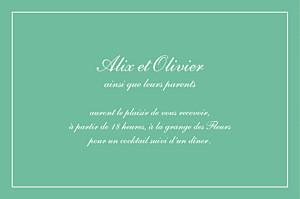 Carton d'invitation mariage vert grand chic liseré vert