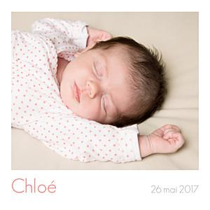 Faire-part de naissance polaroid simple 5 photos (triptyque) blanc