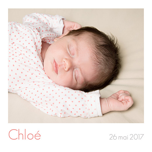 Faire-part de naissance Simple 5 photos (triptyque) blanc