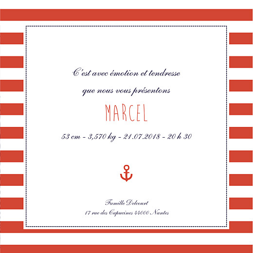 Faire-part de naissance Matelot photo (4 pages) bleu & rouge - Page 3