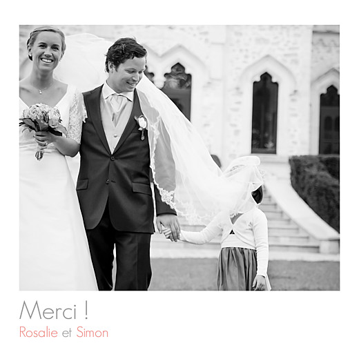 Carte de remerciement mariage Petit moderne (triptyque) blanc
