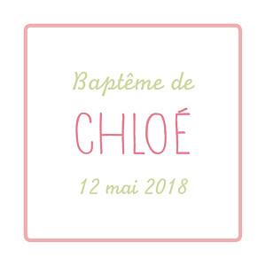 Etiquette de baptême vintage folk rose vert