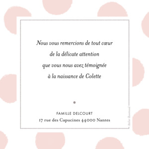 Carte de remerciement Merci big dots photo rose