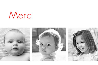 Carte de remerciement Petit contemporain 3 photos blanc finition